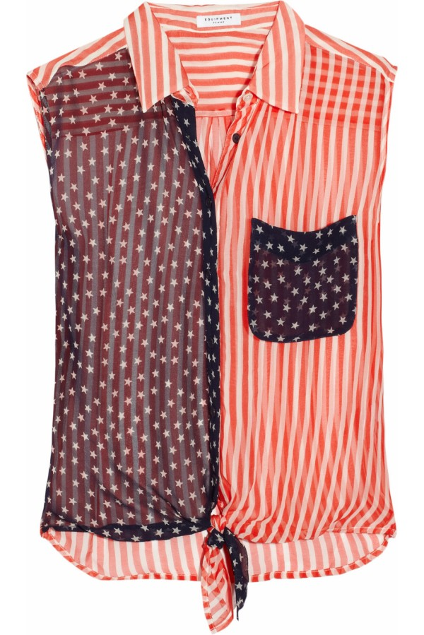 Diem stars and stripes-print silk-georgette shirt